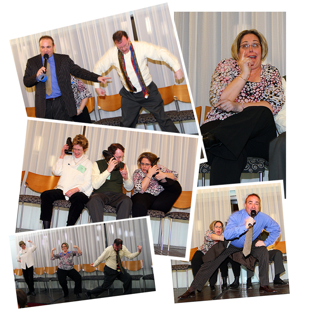 Boston comedy hypnotist performs hynoisis show for corportate groups